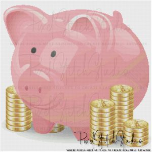 Piggy Bank With Coins Cross Stitch Pattern - Unframed