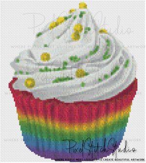 Rainbow Cupcake Cross Stitch Pattern - Unframed